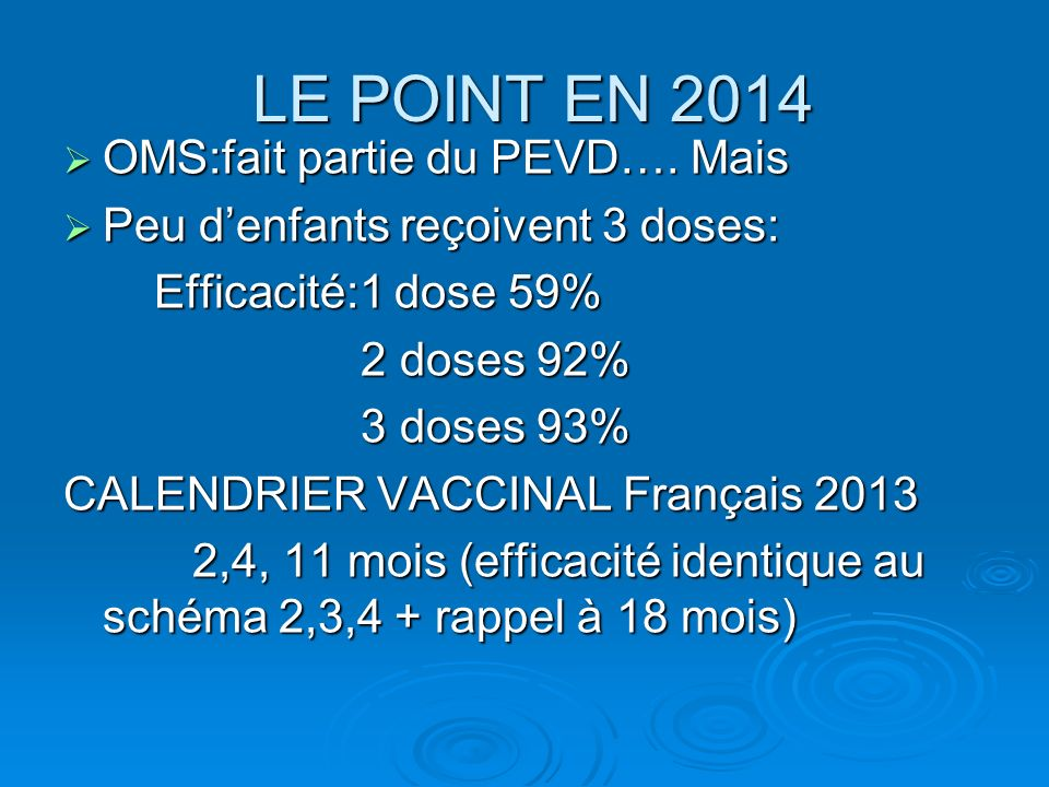 LE POINT EN 2014 OMS:fait partie du PEVD…. Mais