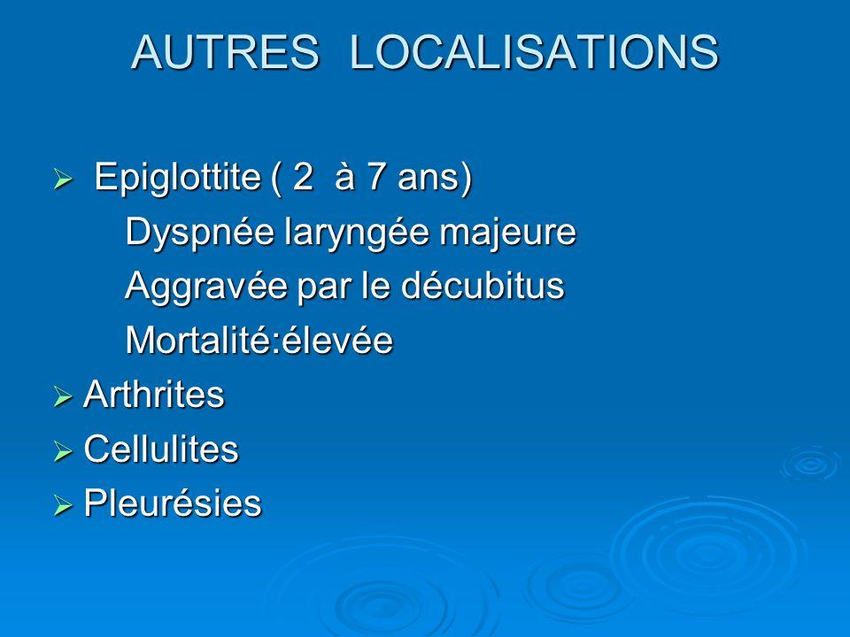 AUTRES LOCALISATIONS Epiglottite ( 2 à 7 ans) Dyspnée laryngée majeure
