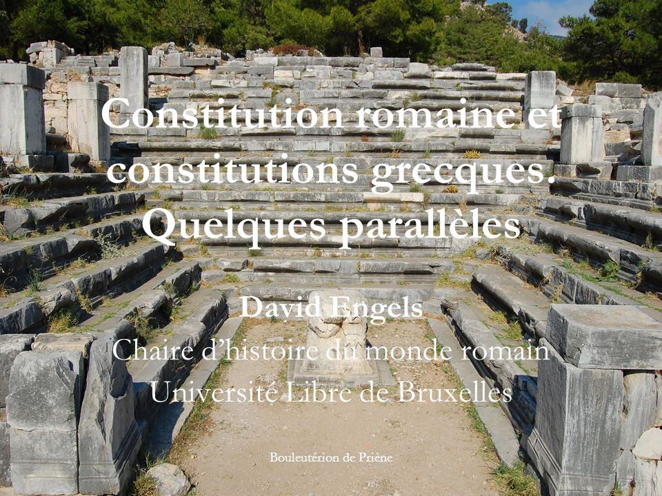 Constitution romaine et constitutions grecques. Quelques parallèles