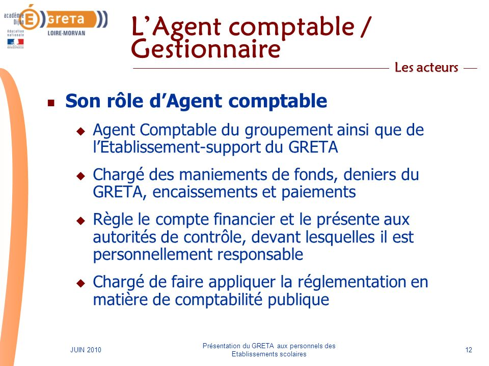 L'Agent comptable / Gestionnaire