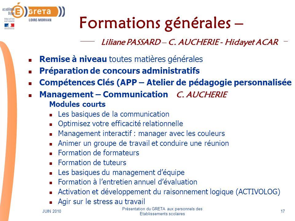 Formations générales –