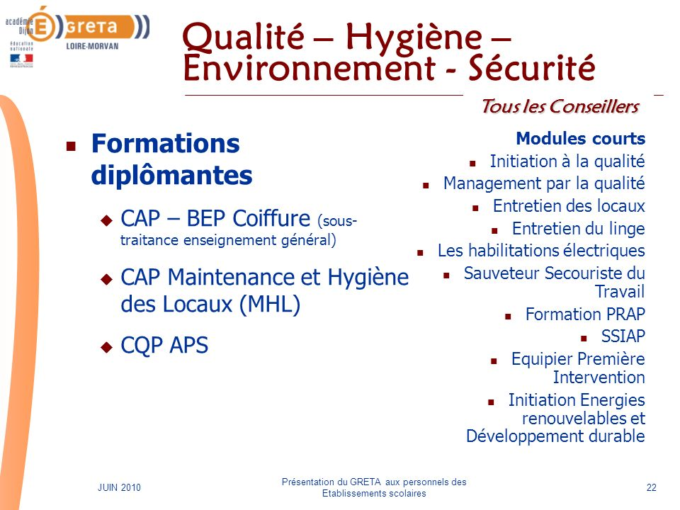 Qualité – Hygiène – Environnement - Sécurité