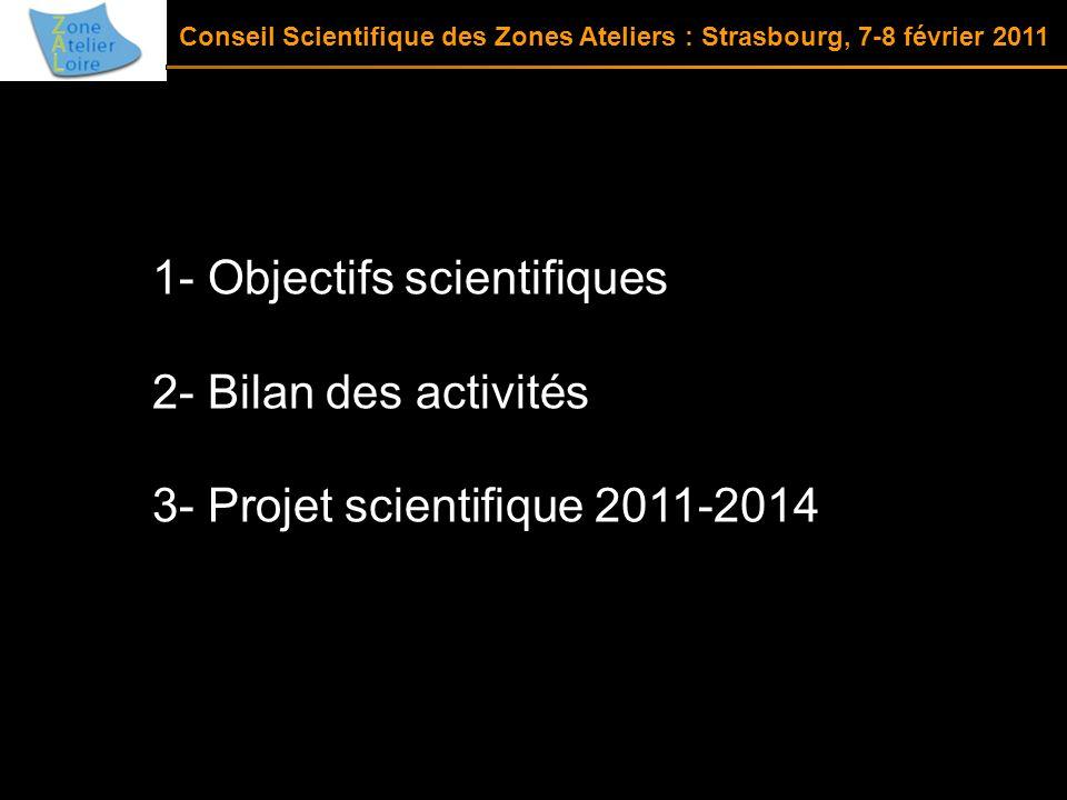 1- Objectifs scientifiques 2- Bilan des activités