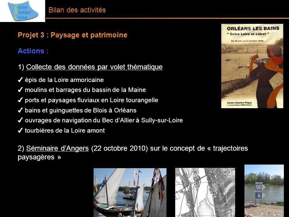 Projet 3 : Paysage et patrimoine Actions :