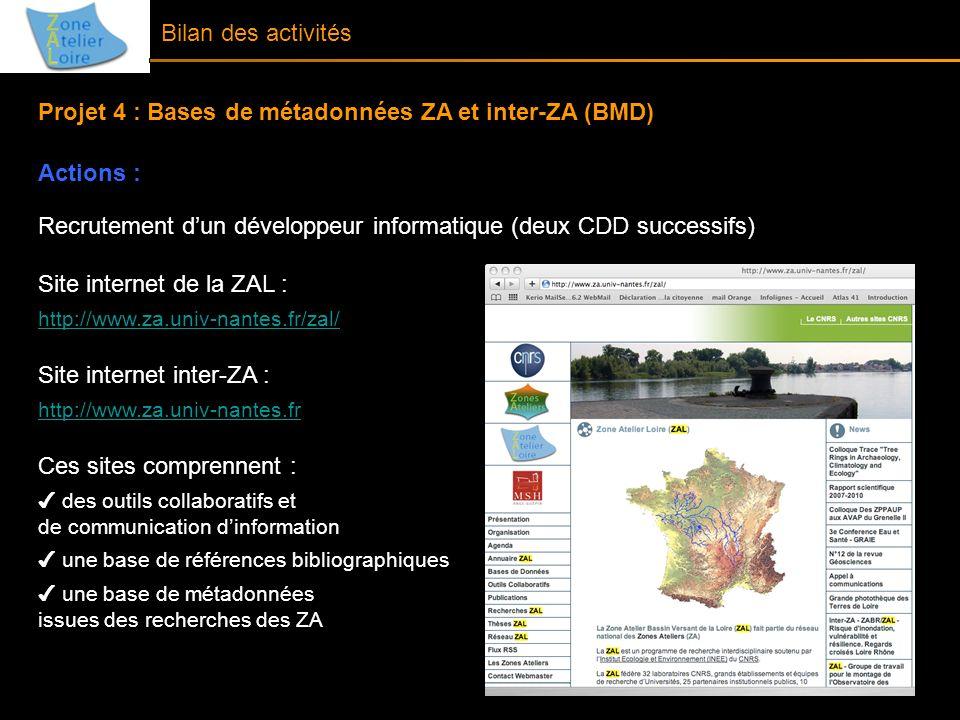 Projet 4 : Bases de métadonnées ZA et inter-ZA (BMD) Actions :
