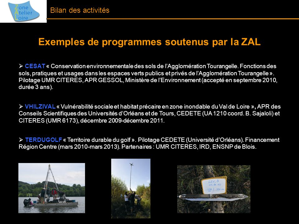 Exemples de programmes soutenus par la ZAL