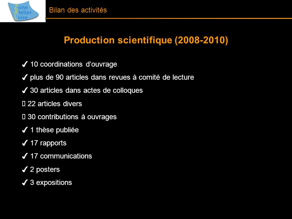 Production scientifique (2008-2010)