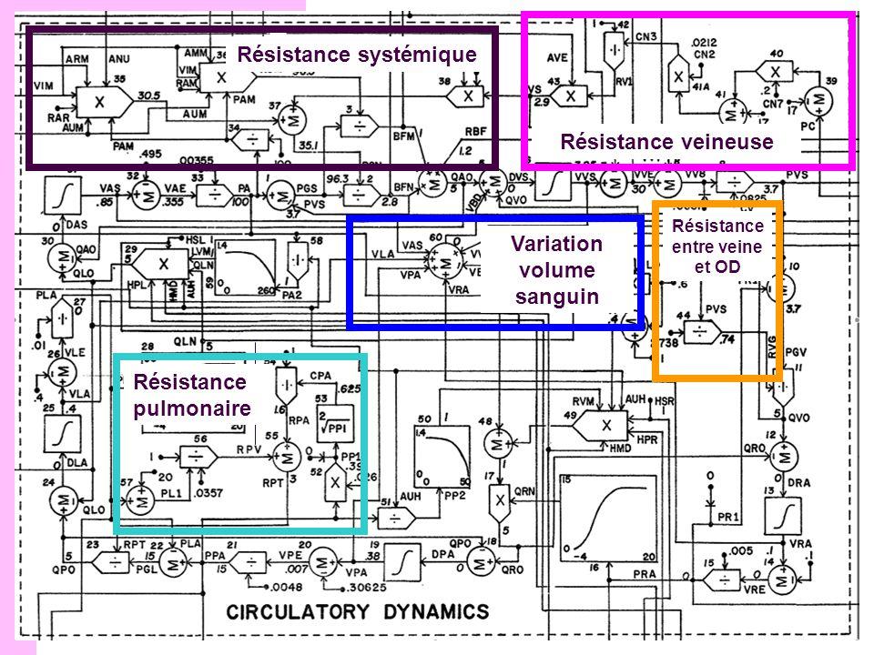 Structure du modèle Résistance systémique Résistance veineuse