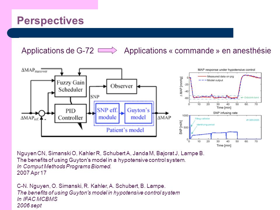 Perspectives Applications « commande » en anesthésie