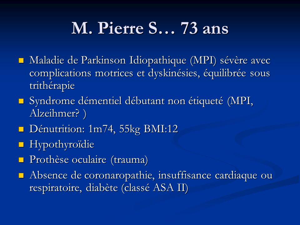 M. Pierre S… 73 ans Maladie de Parkinson Idiopathique (MPI) sévère avec complications motrices et dyskinésies, équilibrée sous trithérapie.