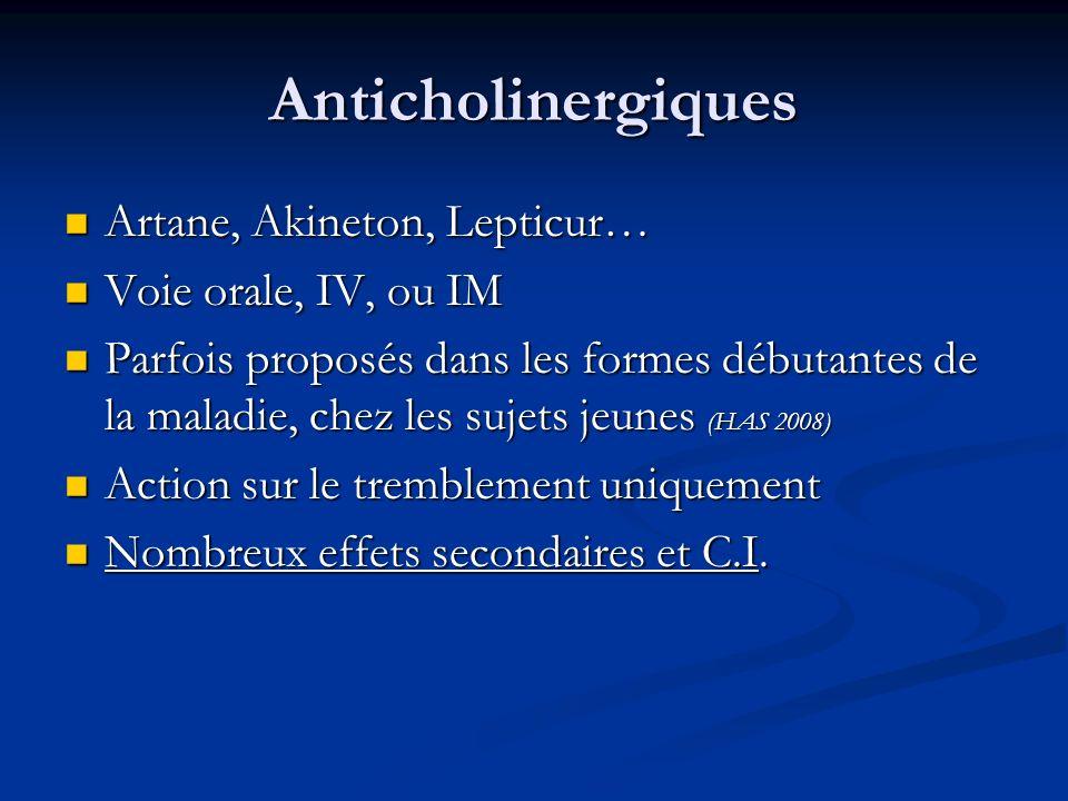 Anticholinergiques Artane, Akineton, Lepticur… Voie orale, IV, ou IM