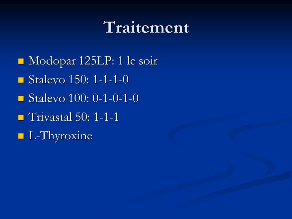 Traitement Modopar 125LP: 1 le soir Stalevo 150: 1-1-1-0