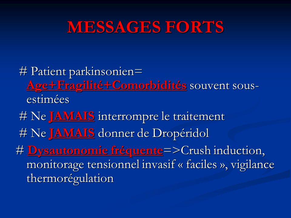 MESSAGES FORTS # Patient parkinsonien= Age+Fragilité+Comorbidités souvent sous-estimées. # Ne JAMAIS interrompre le traitement.