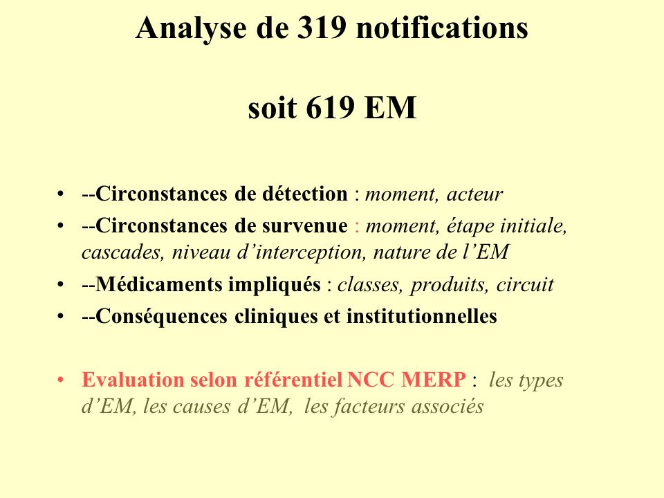 Analyse de 319 notifications soit 619 EM