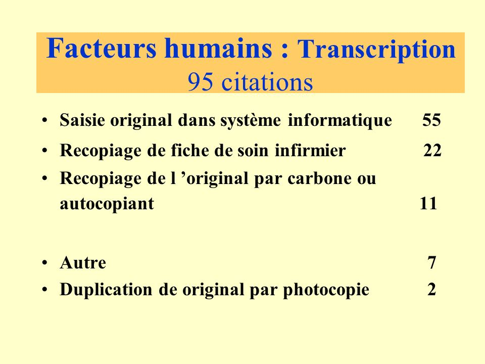 Facteurs humains : Transcription 95 citations