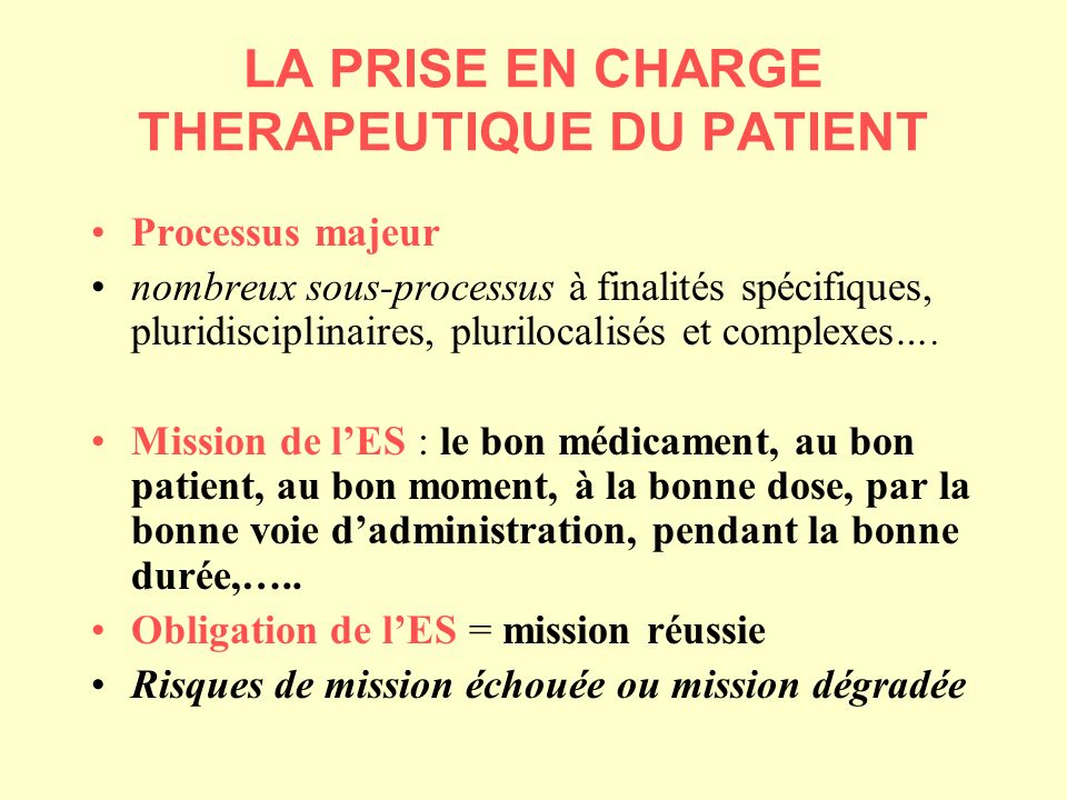 LA PRISE EN CHARGE THERAPEUTIQUE DU PATIENT