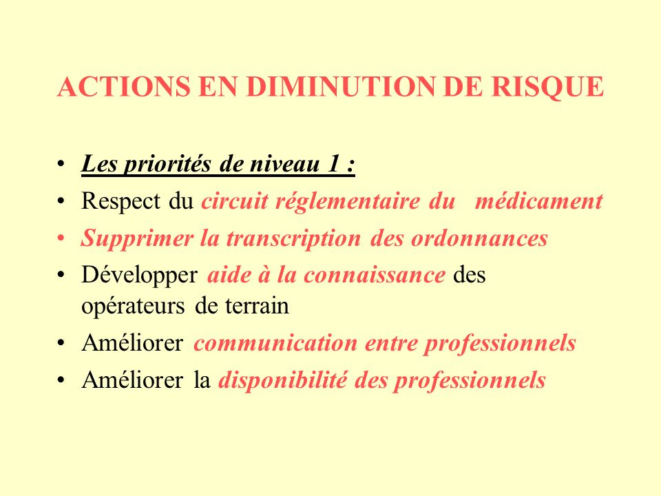 ACTIONS EN DIMINUTION DE RISQUE