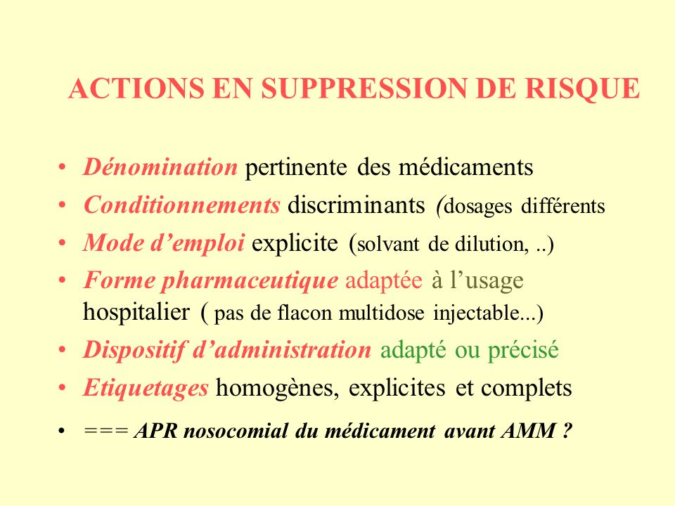 ACTIONS EN SUPPRESSION DE RISQUE