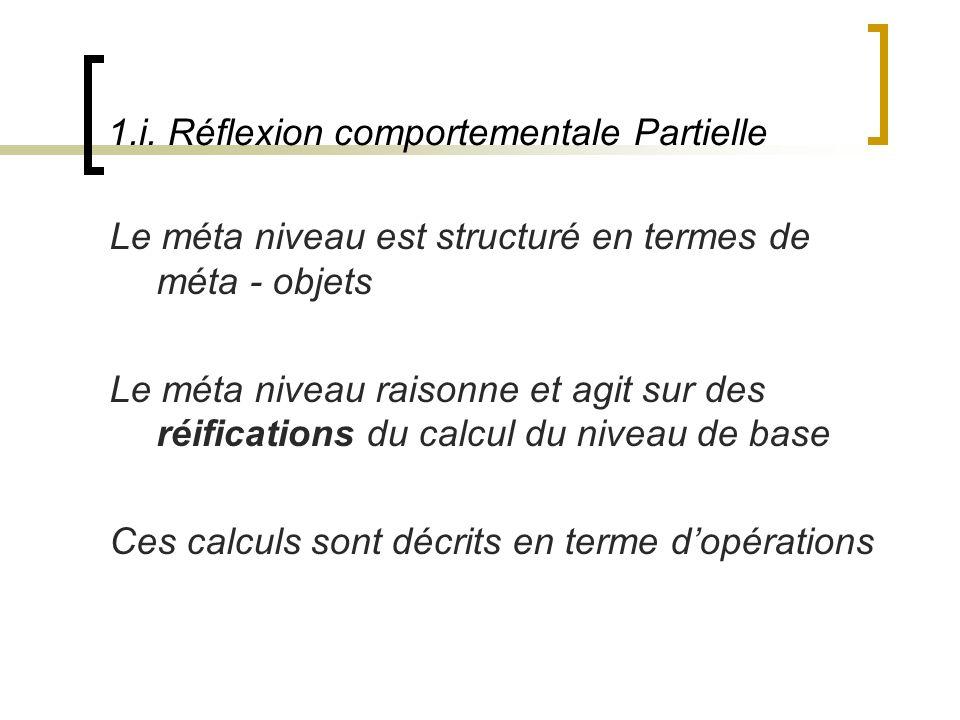 1.i. Réflexion comportementale Partielle