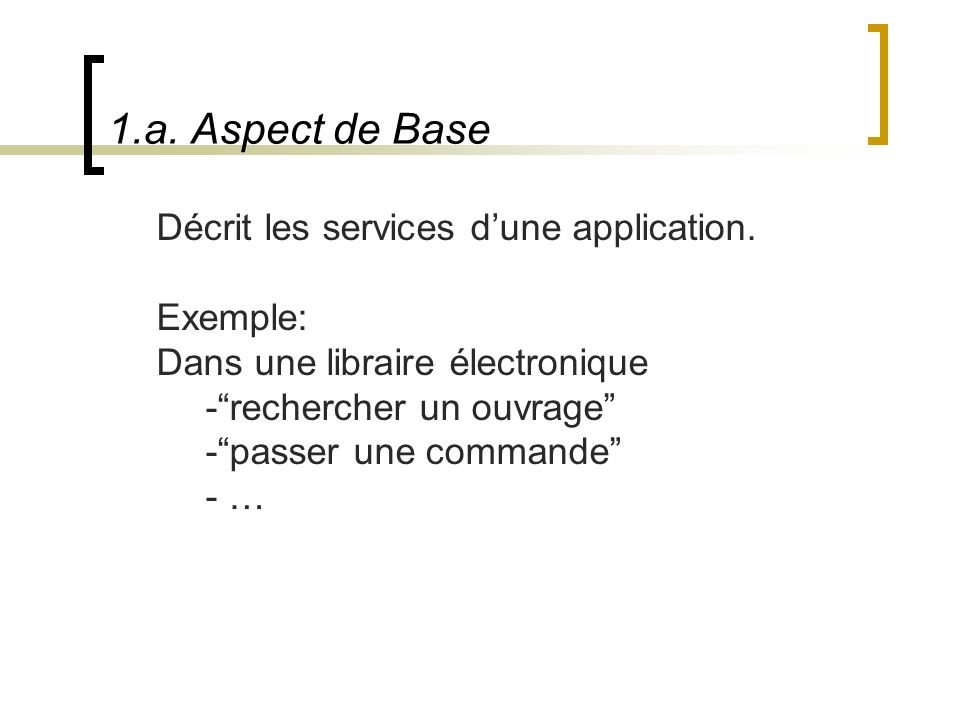 1.a. Aspect de Base Décrit les services d'une application. Exemple: