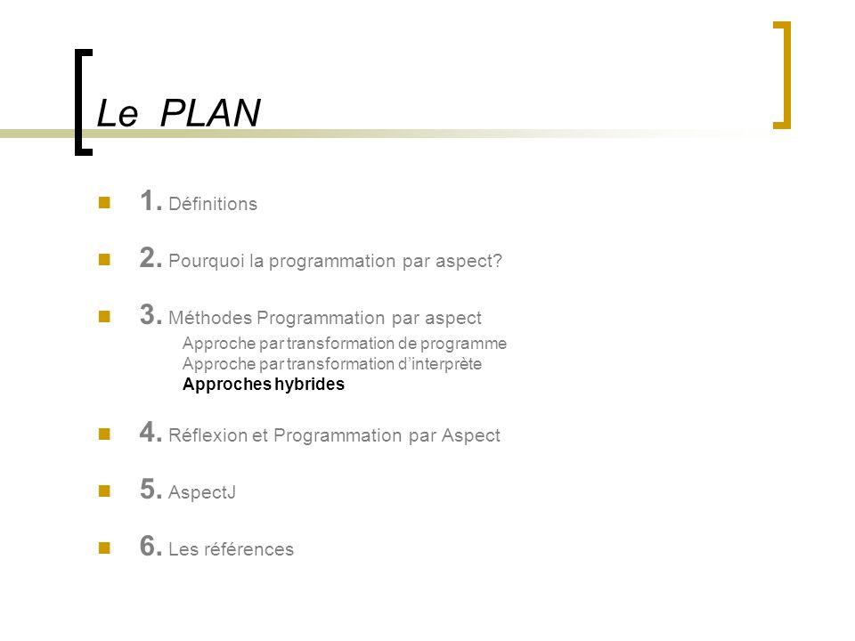 Le PLAN 1. Définitions 2. Pourquoi la programmation par aspect
