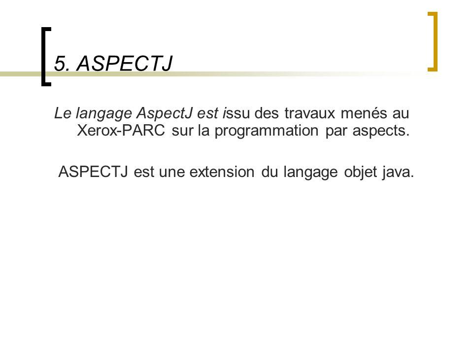 5. ASPECTJ Le langage AspectJ est issu des travaux menés au Xerox-PARC sur la programmation par aspects.