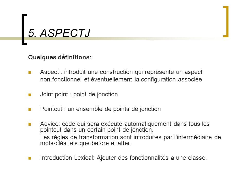 5. ASPECTJ Quelques définitions: