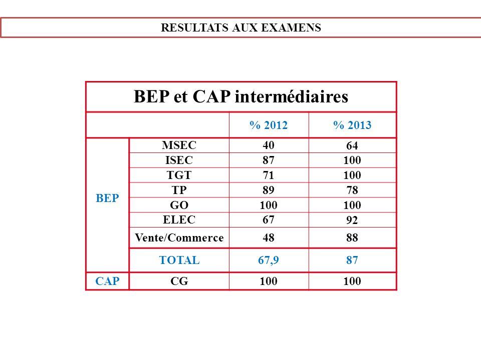 BEP et CAP intermédiaires