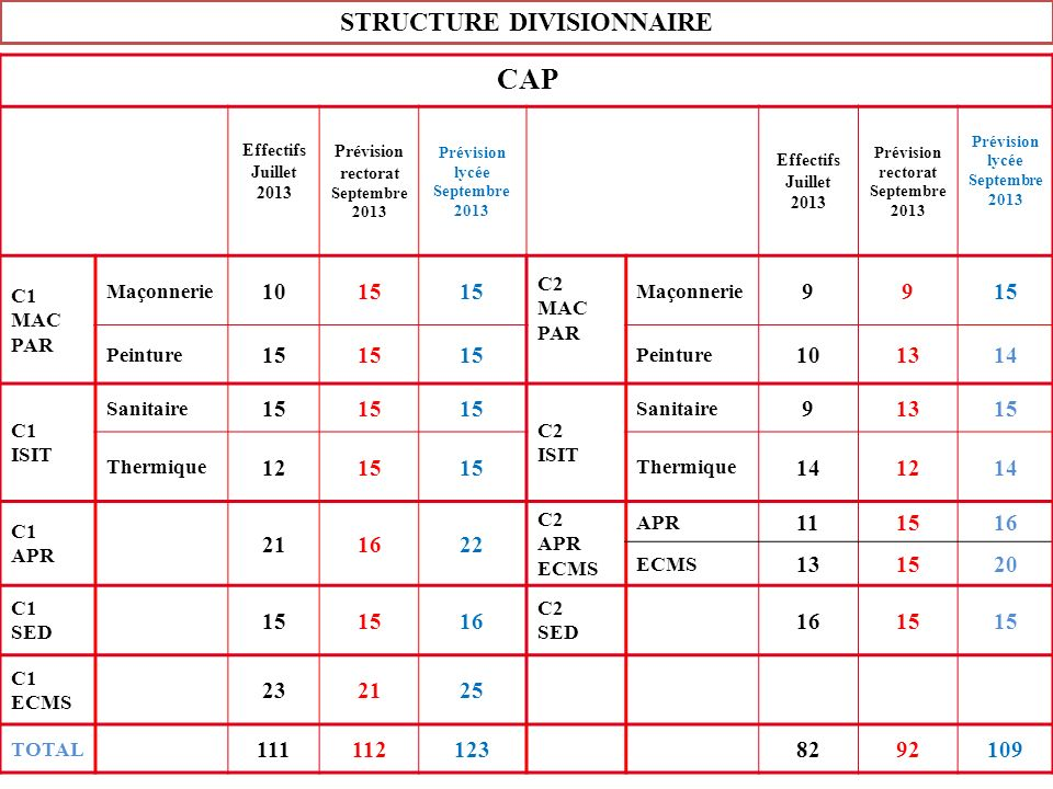 STRUCTURE DIVISIONNAIRE