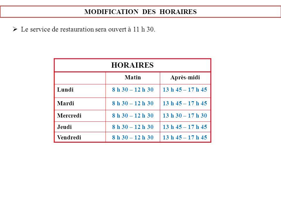 MODIFICATION DES HORAIRES