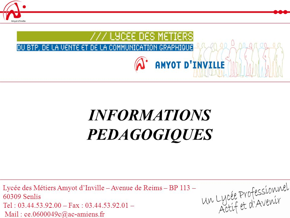 INFORMATIONS PEDAGOGIQUES