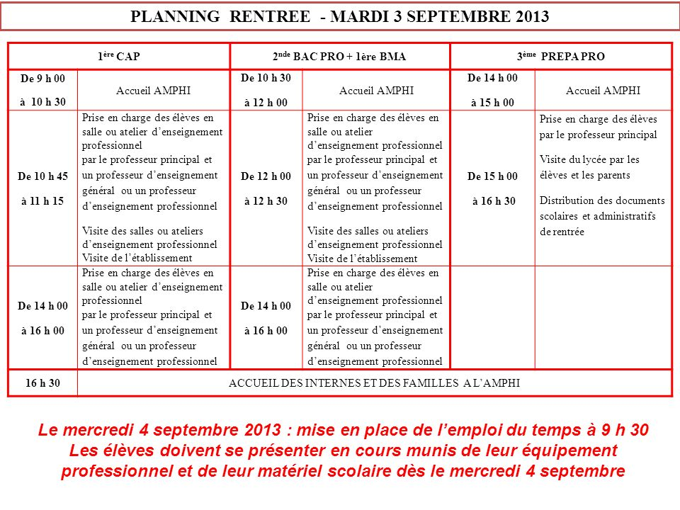 PLANNING RENTREE - MARDI 3 SEPTEMBRE 2013