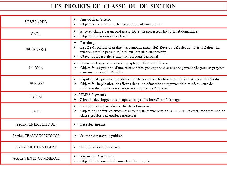 LES PROJETS DE CLASSE OU DE SECTION
