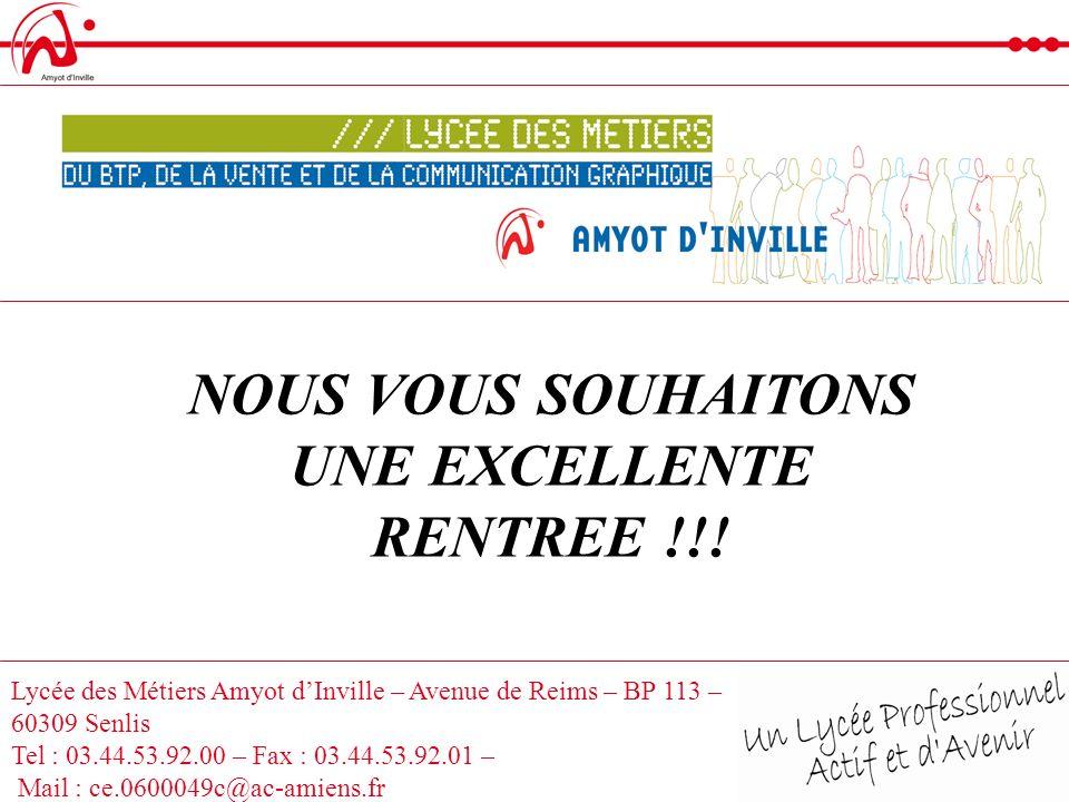 NOUS VOUS SOUHAITONS UNE EXCELLENTE RENTREE !!!
