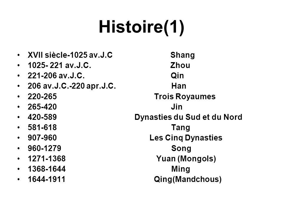 Histoire(1) XVII siècle-1025 av.J.C Shang 1025- 221 av.J.C. Zhou