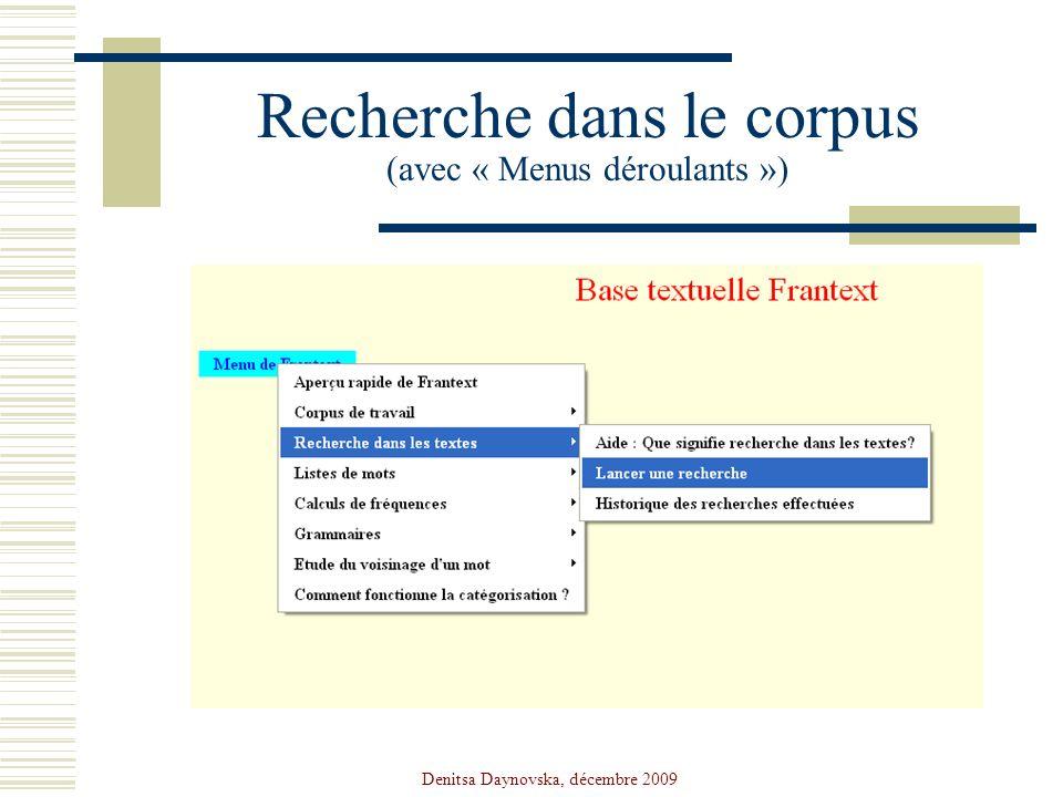Recherche dans le corpus (avec « Menus déroulants »)