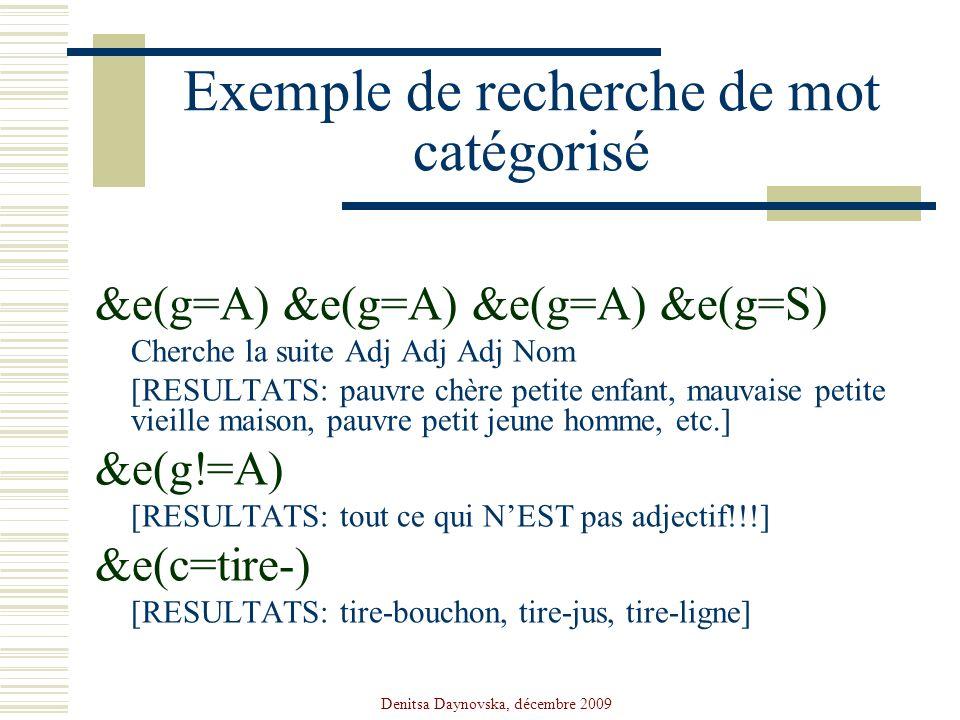 Exemple de recherche de mot catégorisé