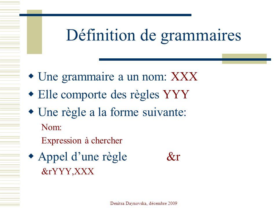 Définition de grammaires