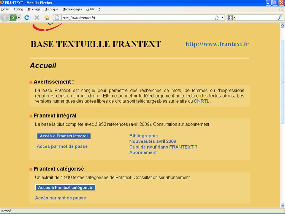 Présentation de Frantext