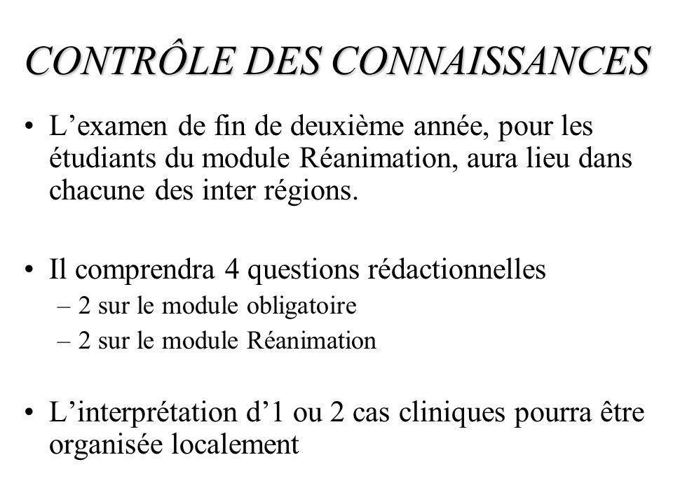 CONTRÔLE DES CONNAISSANCES