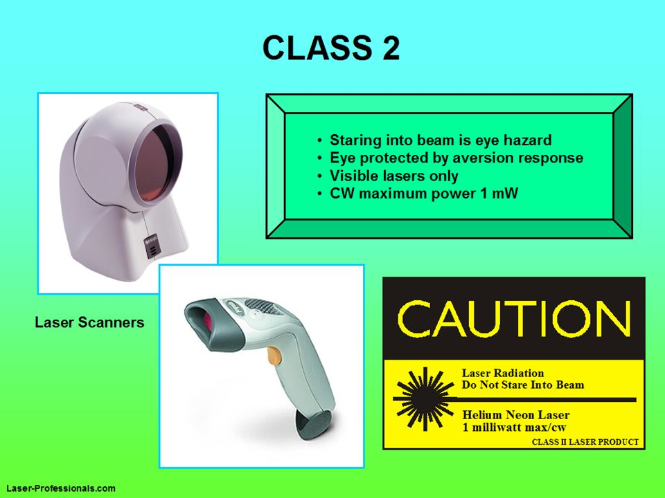 Class 2 lasers must be visible