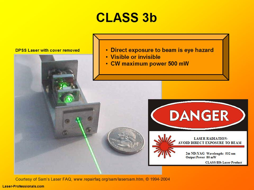 Class 3b lasers are hazardous for direct eye exposure to the laser beam. But diffuse reflections are not usually hazardous.