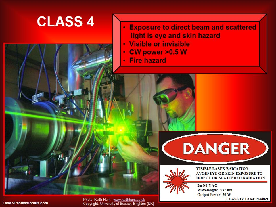 Class 4 lasers are powerful enough that even the diffuse reflection is a hazard. The lower power limit for CW and repetitive pulsed class 4 lasers is an average power of 0.5 W. The lower limit for single pulse class 4 lasers varies from 0.03 J for visible wavelengths to 0.15 J for some near infrared wavelengths.