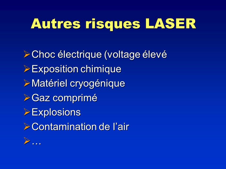 Autres risques LASER Choc électrique (voltage élevé