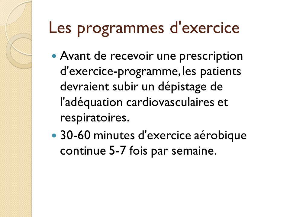 Les programmes d exercice