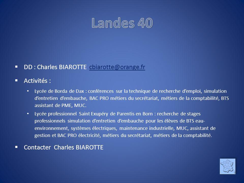 Landes 40 DD : Charles BIAROTTE cbiarotte@orange.fr Activités :