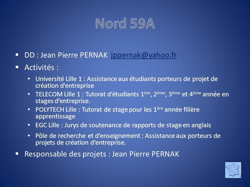 Nord 59A Activités : DD : Jean Pierre PERNAK jppernak@yahoo.fr