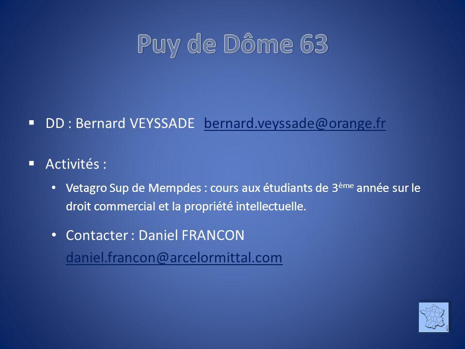 Puy de Dôme 63 DD : Bernard VEYSSADE bernard.veyssade@orange.fr