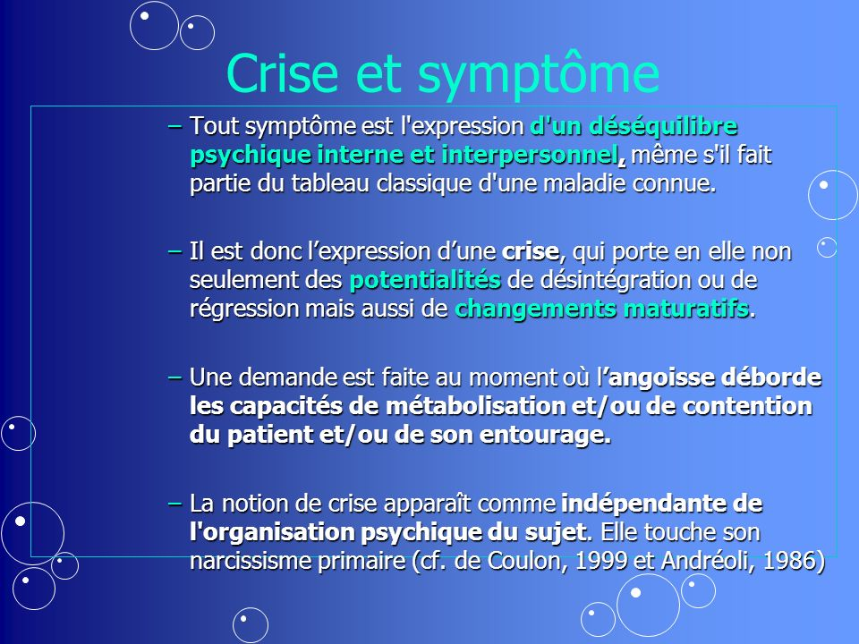 Crise et symptôme