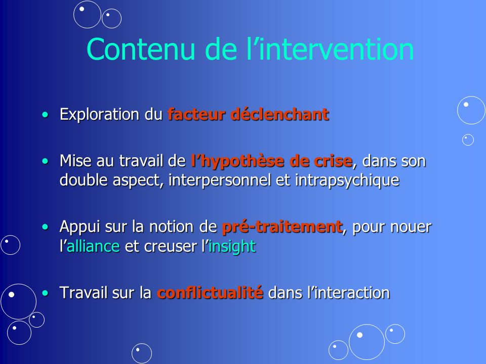 Contenu de l'intervention